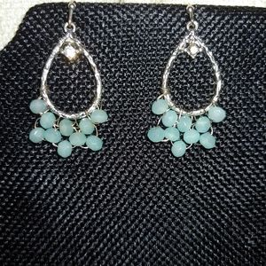 Silver Earrings with Petite Blue Stones